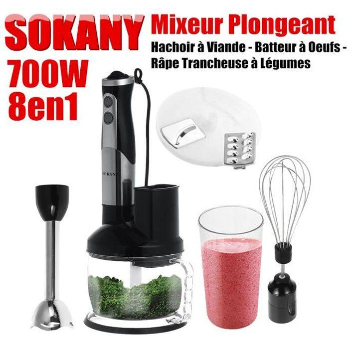 SOKANY 8en1 Mixeur Plongeant 700W Hachoir à Viande Batteur à Oeufs Râpe Trancheuse à Légumes Mélangeur Electrique Fouet