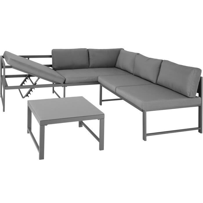 Canapé de jardin FARO 5 places - plateau de verre
