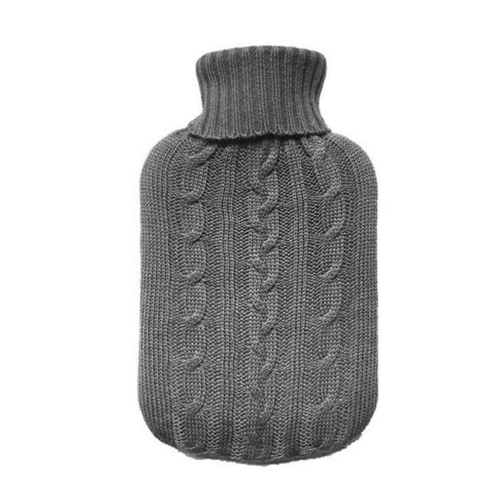 TRIXES Housse Grise Tricotée Isolante pour Bouillotte d'Eau Chaude - Couverture Seulement (Bouillotte non Incluse)