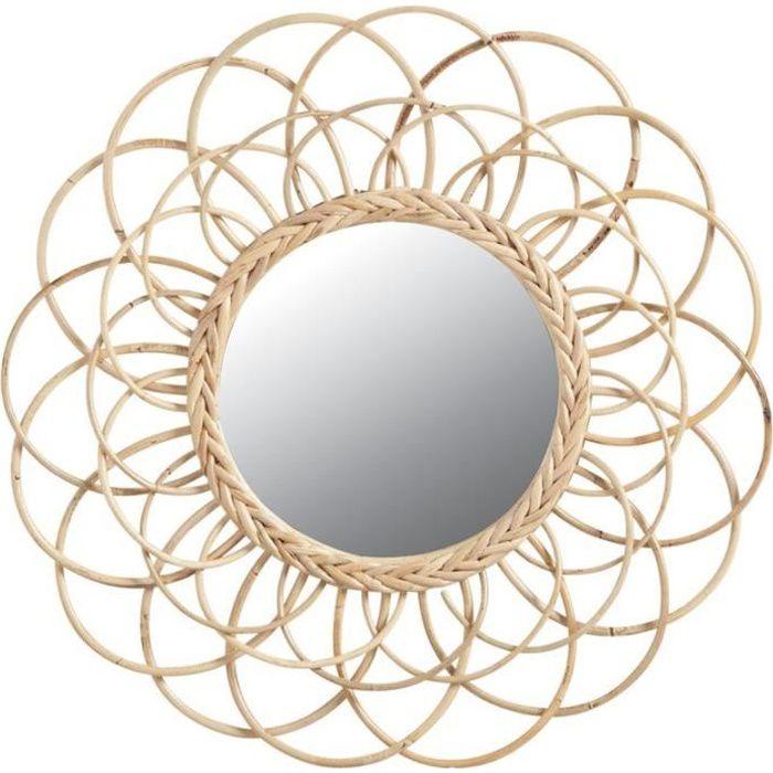 Miroir en Osier Decoratif sur Pied