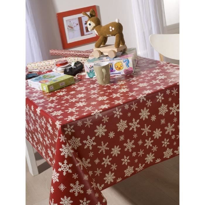 nappe en toile cir e ovale 140x240 cm etoile des neiges rouge achat vente nappe de table. Black Bedroom Furniture Sets. Home Design Ideas