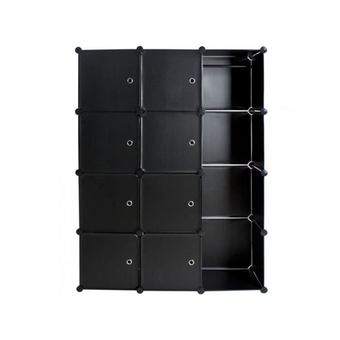 armoire de rangement meuble penderie tag re noir 2008042. Black Bedroom Furniture Sets. Home Design Ideas