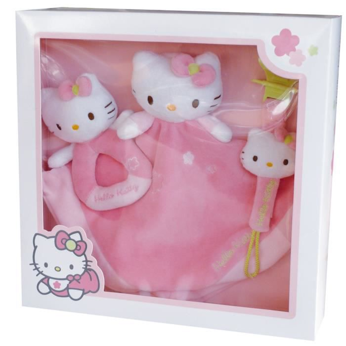 hello kitty coffret doudou hochet et accroche t tine achat vente doudou 3298060220828. Black Bedroom Furniture Sets. Home Design Ideas