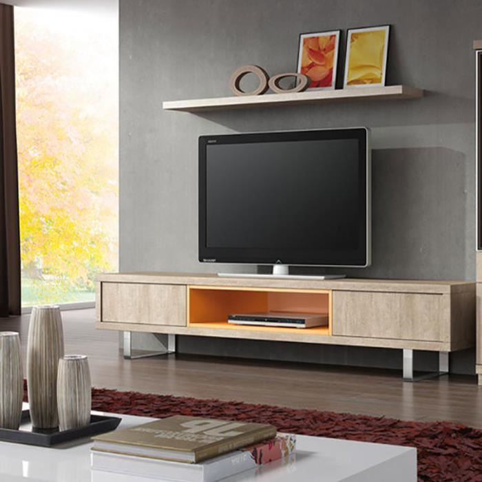 Ensemble meuble tv coloris beige et orange contemporain for Meuble tv beige