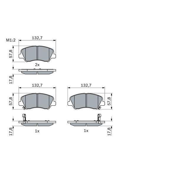 Bosch BP1221 Jeu de 4 plaquettes de frein