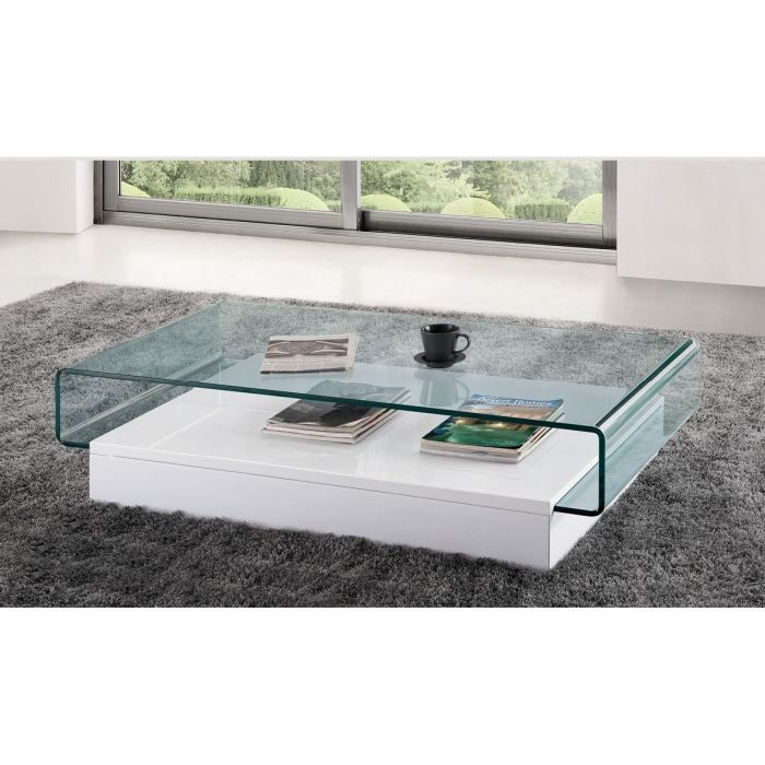 table basse design en verre danae blanc achat vente. Black Bedroom Furniture Sets. Home Design Ideas