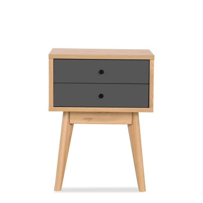 meuble de rangement design scandinave 2 tiroirs skoll couleur gris achat vente petit meuble. Black Bedroom Furniture Sets. Home Design Ideas
