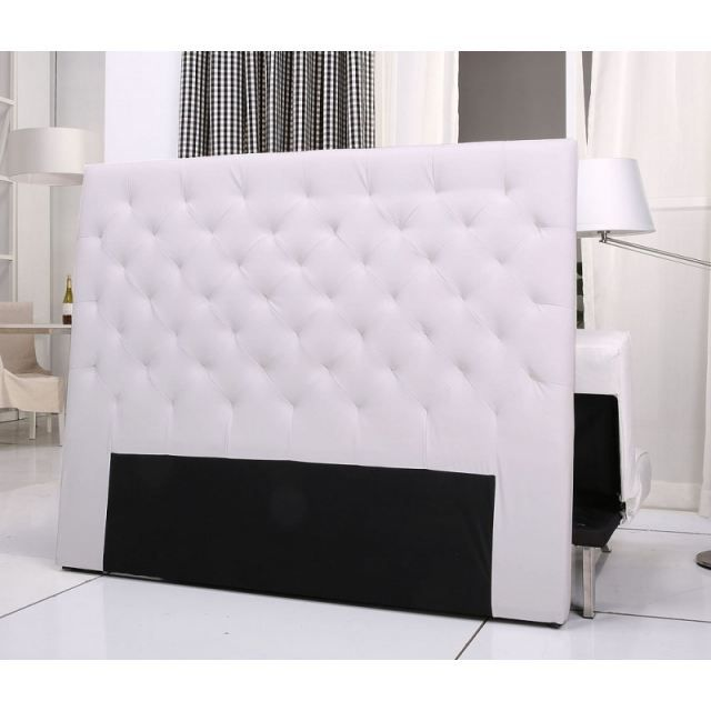 tete de lit capitonnee king 140 160cm pu blanc achat vente t te de lit cdiscount. Black Bedroom Furniture Sets. Home Design Ideas