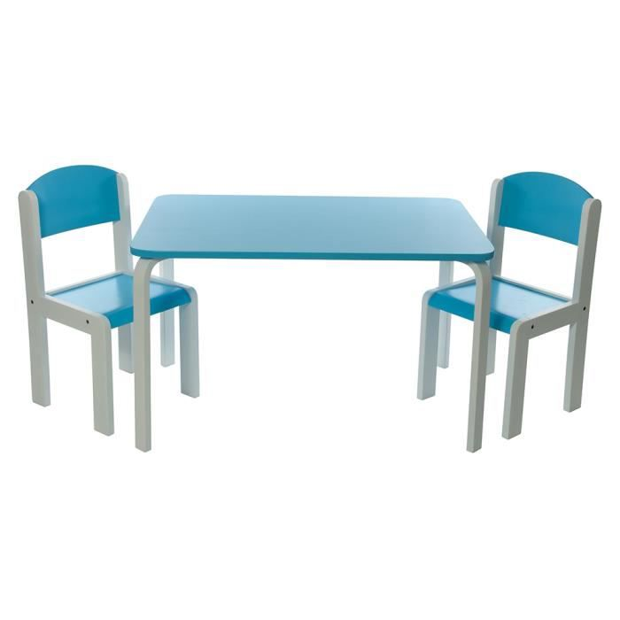 ensemble table et chaises enfant bleu en bois fabio xl. Black Bedroom Furniture Sets. Home Design Ideas