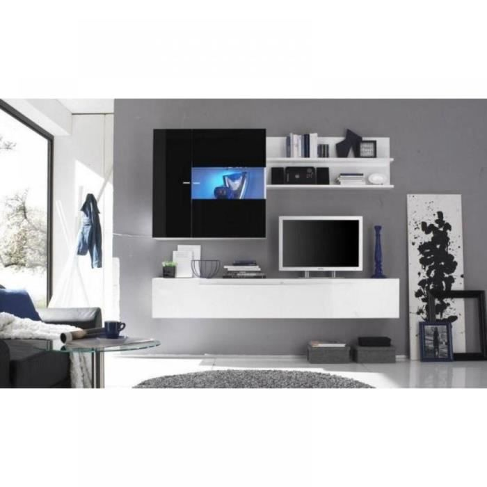 Composition murale tv design primera 2 blanc et achat vente meuble tv - Composition murale tv design ...