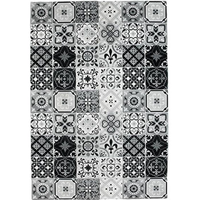 tapis motifs carreaux de ciment noir 60x90cm toodoo 60 x 90 cm noir achat vente tapis. Black Bedroom Furniture Sets. Home Design Ideas