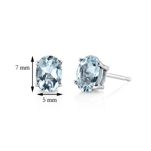 Boucles doreille Clou-Or blanc 14ct-Aigue-marine