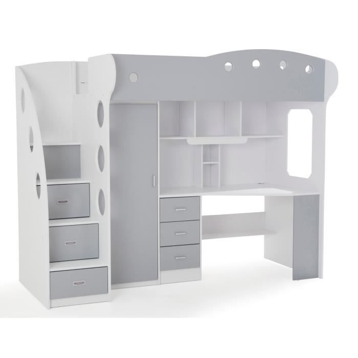 combina lit mezzanine 90x190 cm blanc et gris achat vente lit mezzanine combina lit. Black Bedroom Furniture Sets. Home Design Ideas