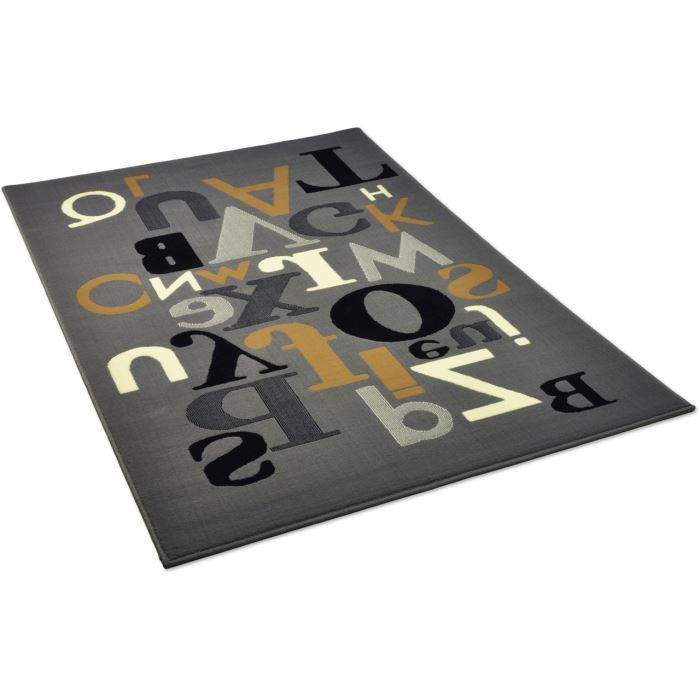 tapis salon alphabet gris universol 120x170cm achat vente tapis cdiscount. Black Bedroom Furniture Sets. Home Design Ideas