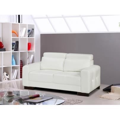 Canap 2 places simili perry blanc achat vente for Peri y canape