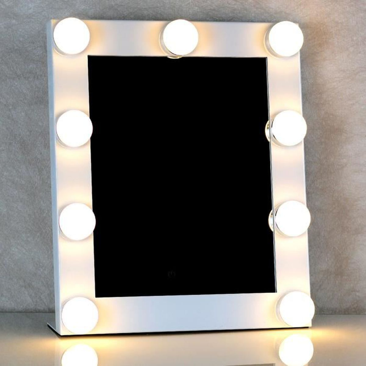 miroir de maquillage cran tactile 9leds hollywood clair. Black Bedroom Furniture Sets. Home Design Ideas