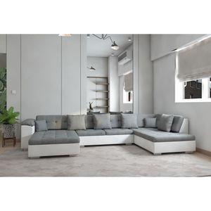 CANAPÉ - SOFA - DIVAN Canapé panoramique ATHOS gris blanc Angle droit