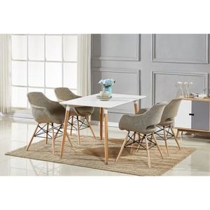 TABLE À MANGER COMPLÈTE Table à Manger Blanche + 4 Chaises Marron en Tissu