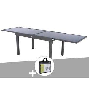 TABLE DE JARDIN  Table extensible rectangulaire en verre Piazza 6/1