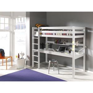 LITS SUPERPOSÉS Lit mezzanine avec bureau Ruben 90x200 Blanc
