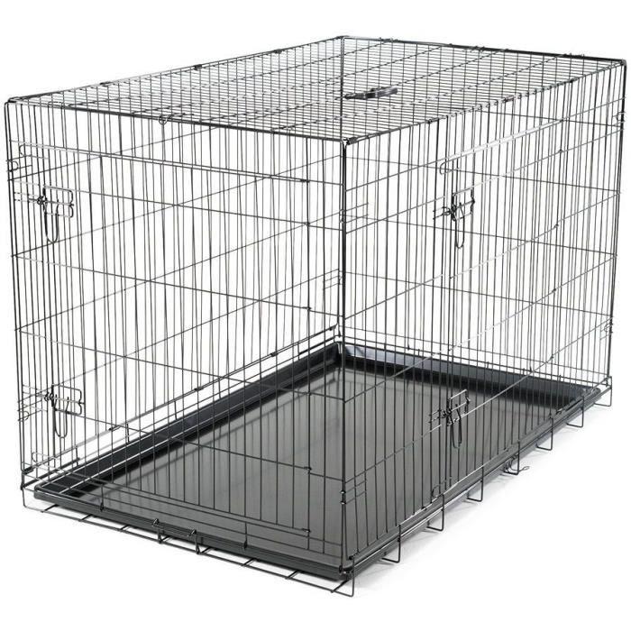 VADIGRAN Cage métallique pliable Classic - 122 x 79 x 86 cm - Noir - Pour chien