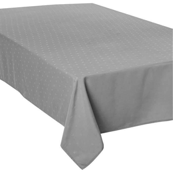 Atmosphera - Nappe grise claire jacquard à carrés 150X300 L, 300 x l, 150 cm Gris Clair
