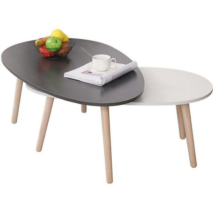 YYiS Tables Basses ovale en Bois Tables gigognes Table d'appoint pour Salon et Bureau, Ensemble de 1 gris 1 blanc