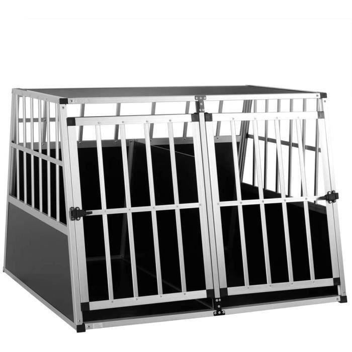 Cage de Transport Taille XXL pour Animaux domestiques Aluminium MDF 2 Portes Noir Argent Caisse Chien Chat Rongeur boîte Box de Tran