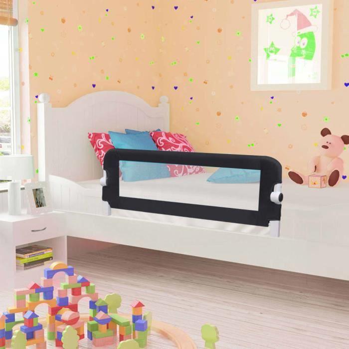 Barrière De Lit Pour Enfants 102 x 42 Cm - Portable - Noir