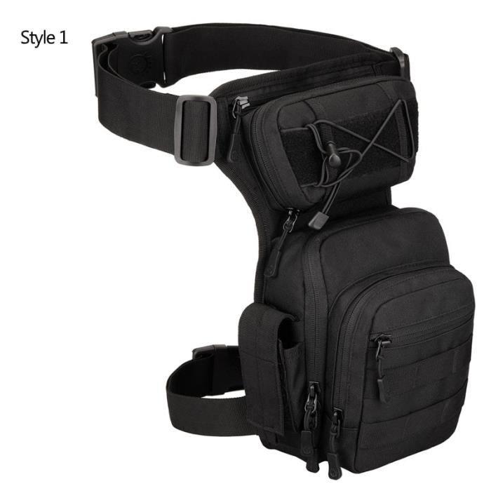 Style 1 Black -Sac à ceinture tactique en Nylon, sacoche à jambe tombante, outil banane Camping randonnée Trekking militaire, selle