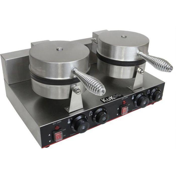 Kukoo Gaufrier Electrique Professionnel Double Moules, Boitier en Acier Inoxydable, Plaque de Cuisson en Téflon et en Aluminium
