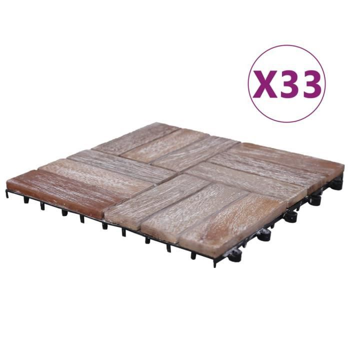 Top Lot de 33 Tuiles de terrasse 30x30 cm Bois de récupération - solide ☺783393