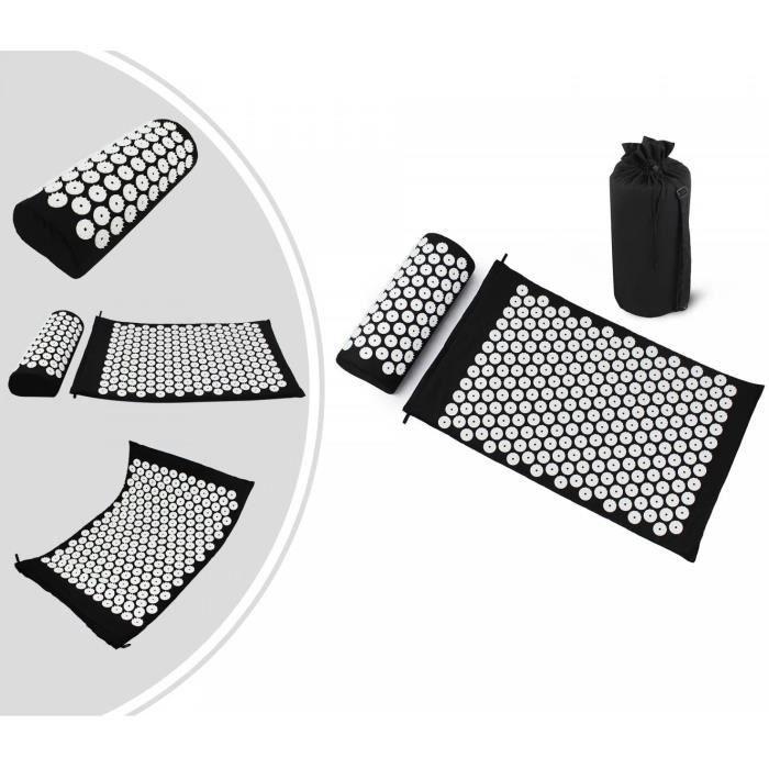 Kit d'Acupression Tapis Coussin de Massage Oreiller d'Acupuncture pour Yoga Traitement des Douleurs Tensions 68×42×2.5cm, Noir