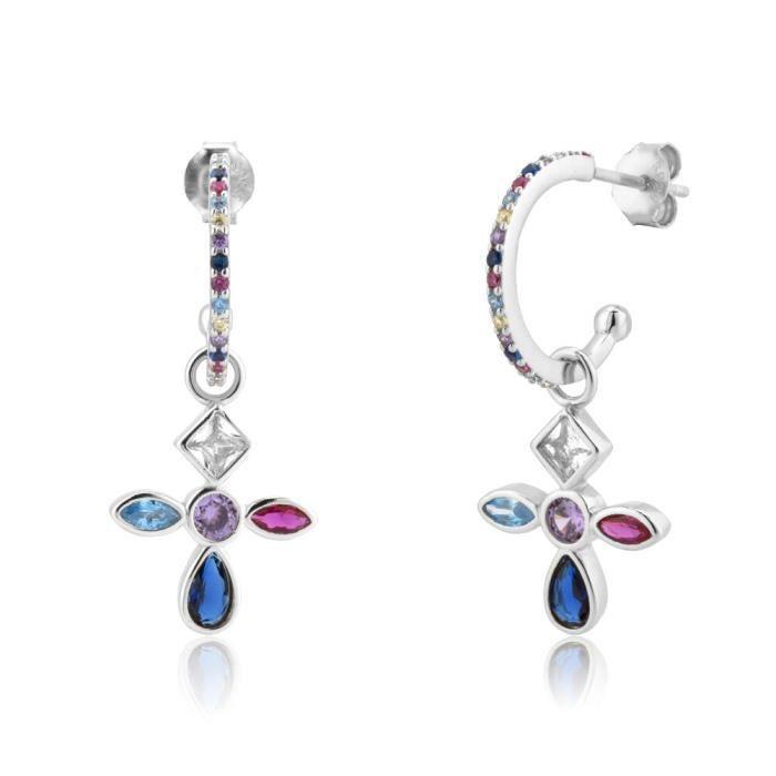 ensemble de boucles d'oreilles en forme de croix arc en ciel pour femmes, ensemble de bijoux de Piercing en argent S*SD3483