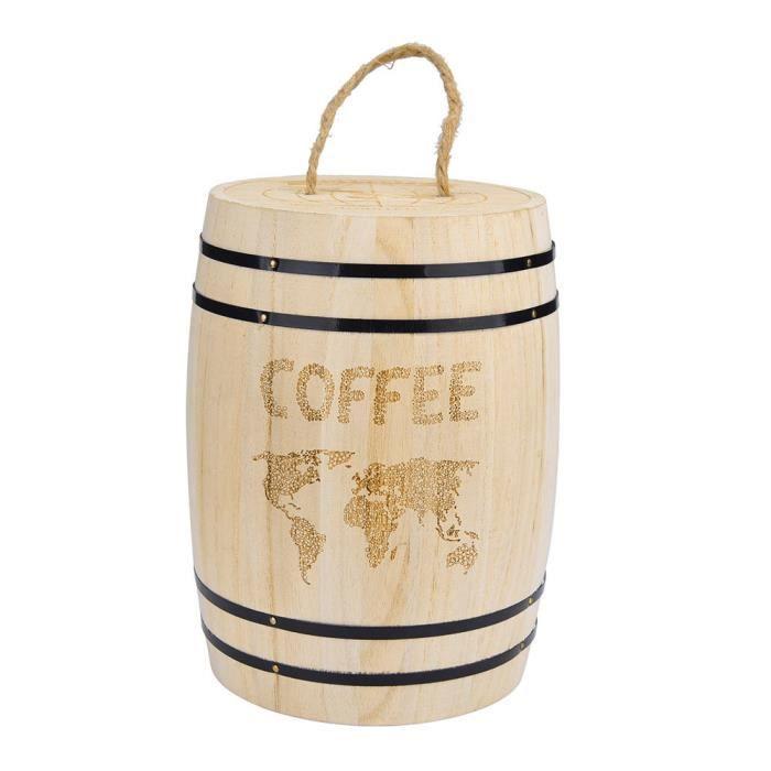 BAC DE RANGEMENT Récipient hermétique de grain de café frais en bois pour le marc de grains de café d198
