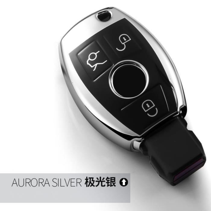 Coque clé,Coque de voiture souple en TPU pour accessoires mercedes benz classe C W204 GLC 260 C200 la CIA GLA W205 - Type Argent