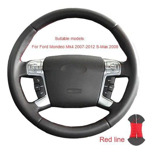 Couvre volant,Couvre volant pour Ford Mondeo Mk4 2007 2012 s max 2008 Ford Focus 3 2015 2018 Kuga 2016 - Type Red thread #B