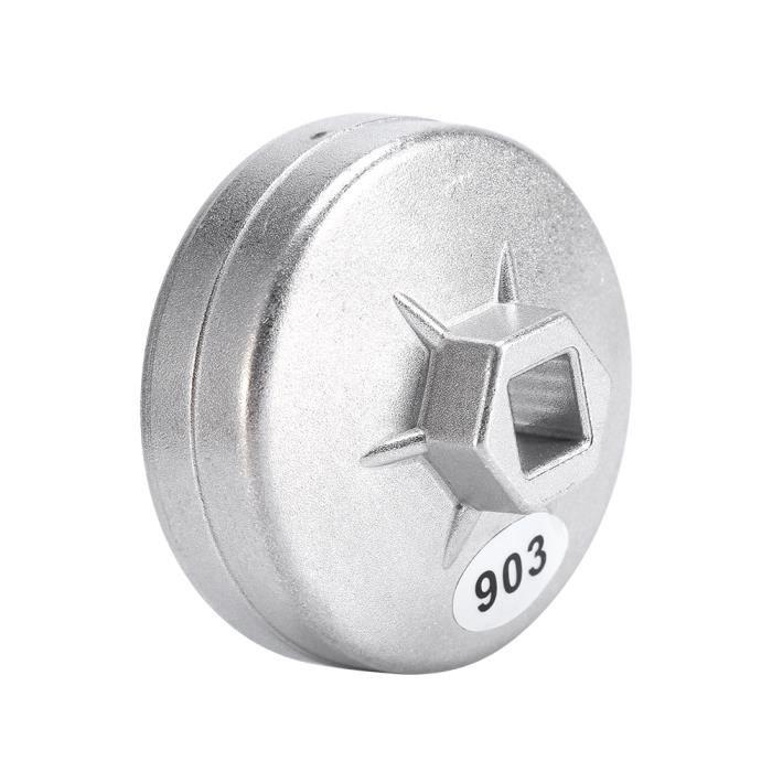 Outil de démontage de douille de clé de filtre à huile en aluminium de 74mm 14 cannelures 903 couleur argentée HB066
