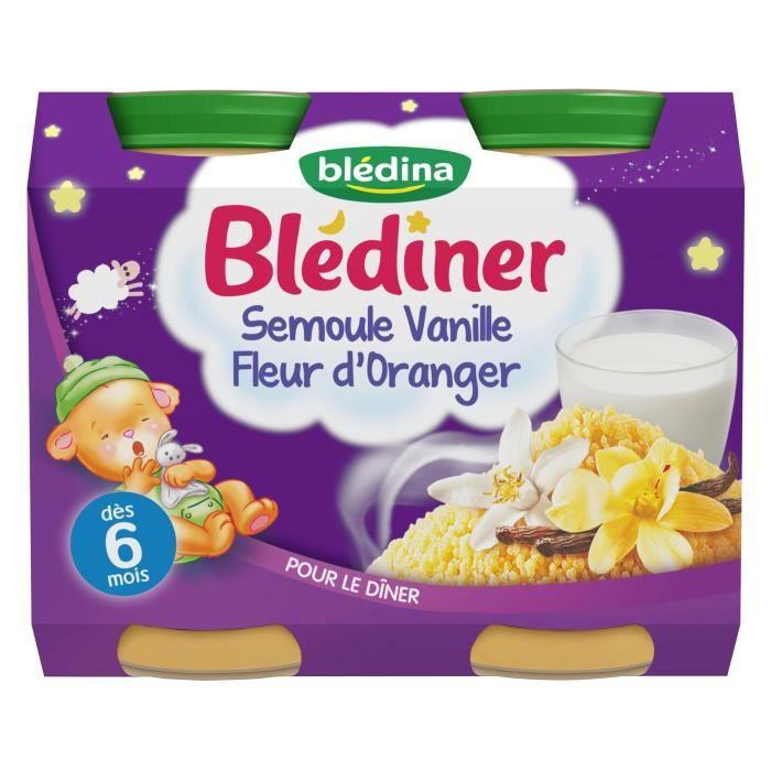 BLEDINA Blédîner Petits pots Semoule vanille fleur d'oranger - Dès 6 mois - 2x200 g