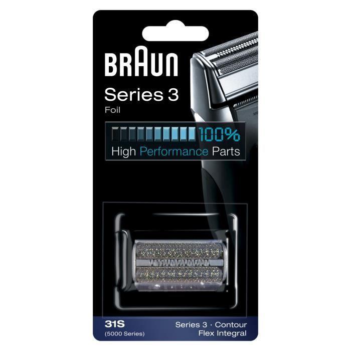 Braun Series 3 Pièce De Rechange Pour Rasoir Électrique Argentée, Compatible avec les rasoirs Series 3, 31S
