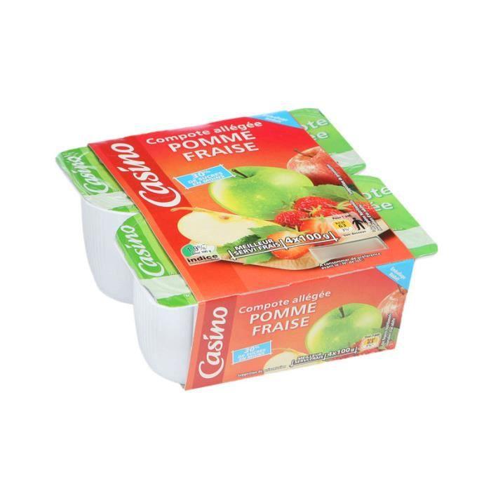 Lot de 4 Compotes allégées de pomme et fraise - 400 g