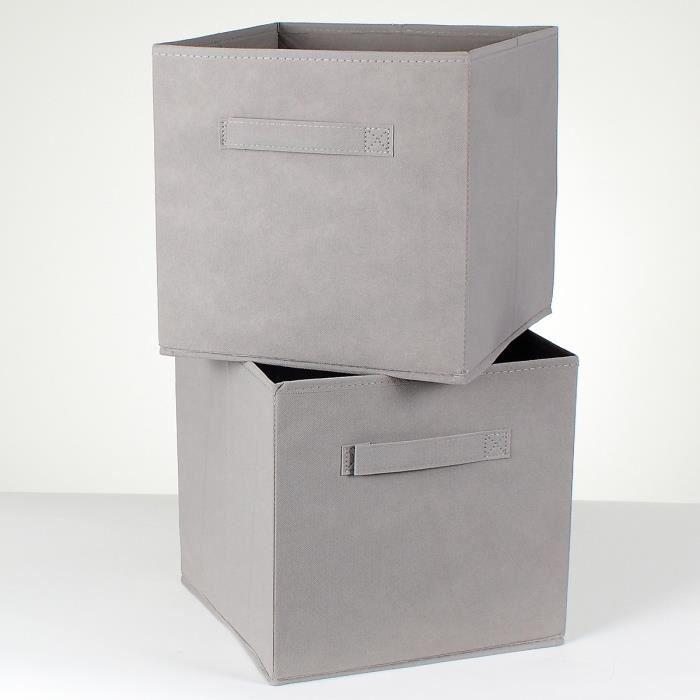 Lot de 2 cubes de rangement intissé 27 cm Gris Taupe