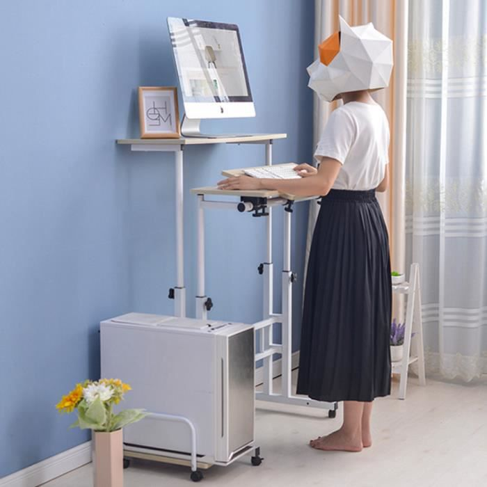 60cm Bureau d'ordinateur Portable Debout d'Hauteur Réglable avec Rouleaux (Érable Blanc) HB010 -VQU