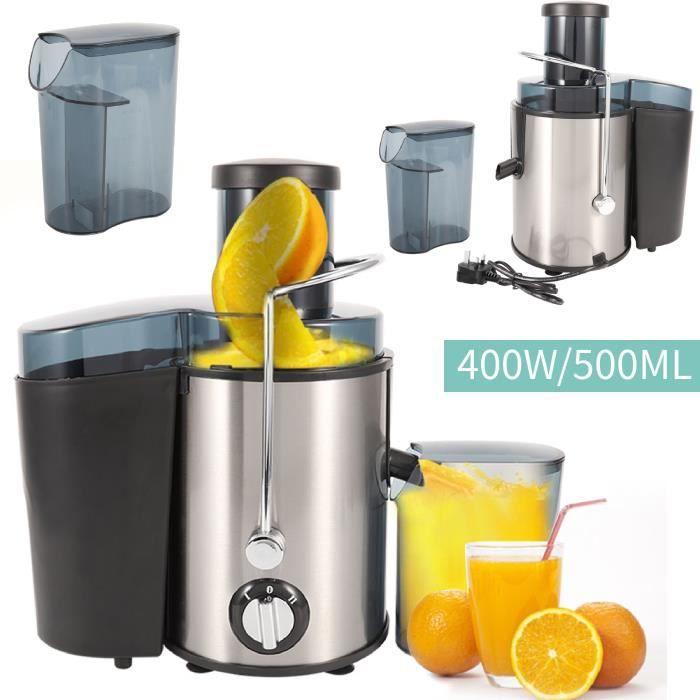 ALA Centrifugeuse en Inox Fruits et légumes 400W - Extracteur de jus - Capacité 500ML - Tube d'alimentation de 75 mm de grand dia