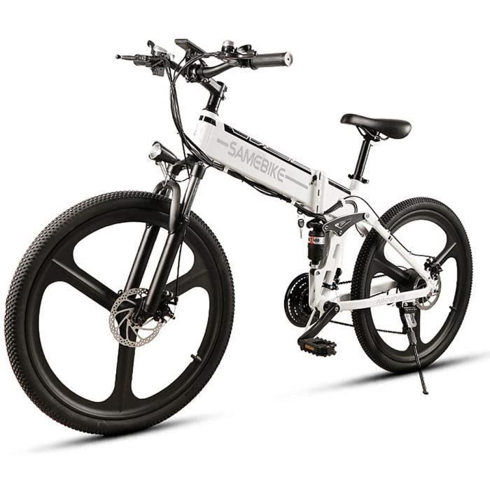 SAMEBIKE LO26 Vélo électrique 48V 350W Moteur 3 Modes 26 Pouces Batterie Au Lithium Pliable Blanc