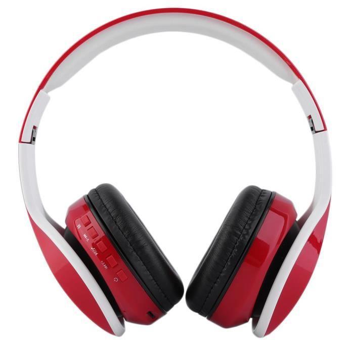 Casque Headset Bluetooth rouge pliable Oy712 pour téléphones mobiles Pc portable