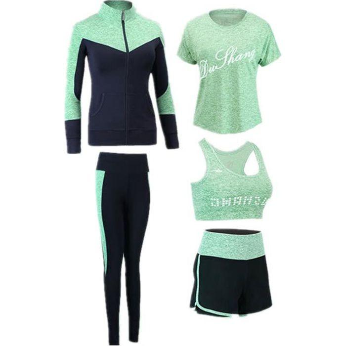 Nouveau Ensemble de Sport de Suduation, Jogging survêtement, Yoga Fitness Tenue 5 pièce Ensemble Femme Vert