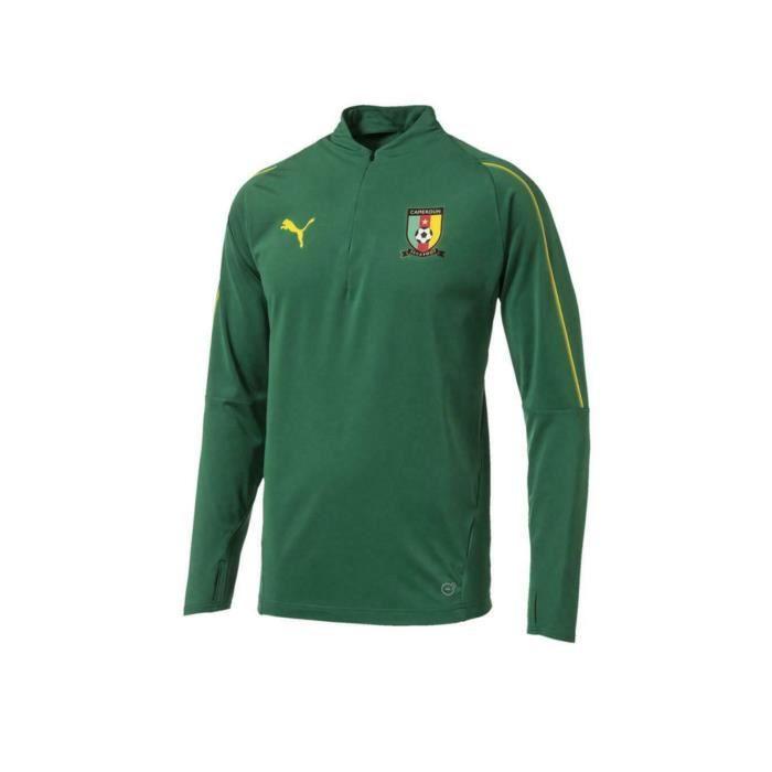 Cameroun officiel - Haut d'entraînement de football - homme - zip descendant sur la poitrine/manches longues