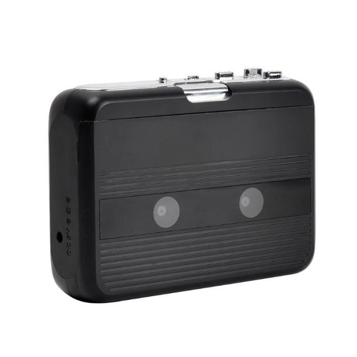 Lecteur De Cassette Noir Avec Radio FM Et Transmetteur Bluetooth Stéréo