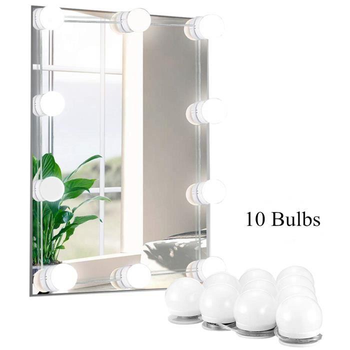 Lumière LED pour miroir, Hollywood Style lumières avec Dimmable Ampoules, 10 morceaux, d'appareils d'éclairage bande pour le maquill